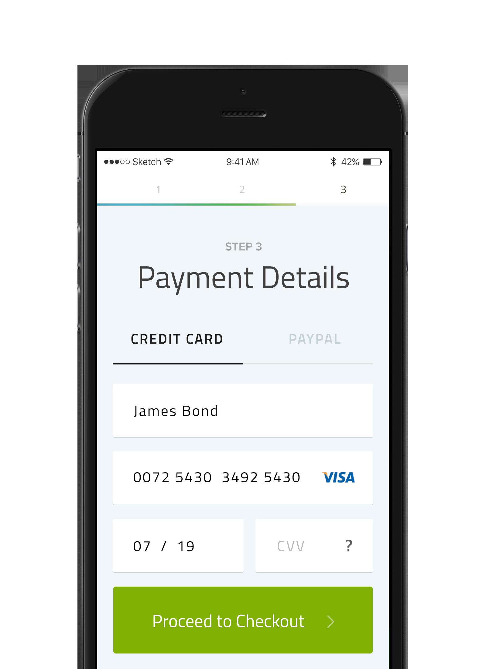 Credit Card Payment Mobile UI Design) Item Form