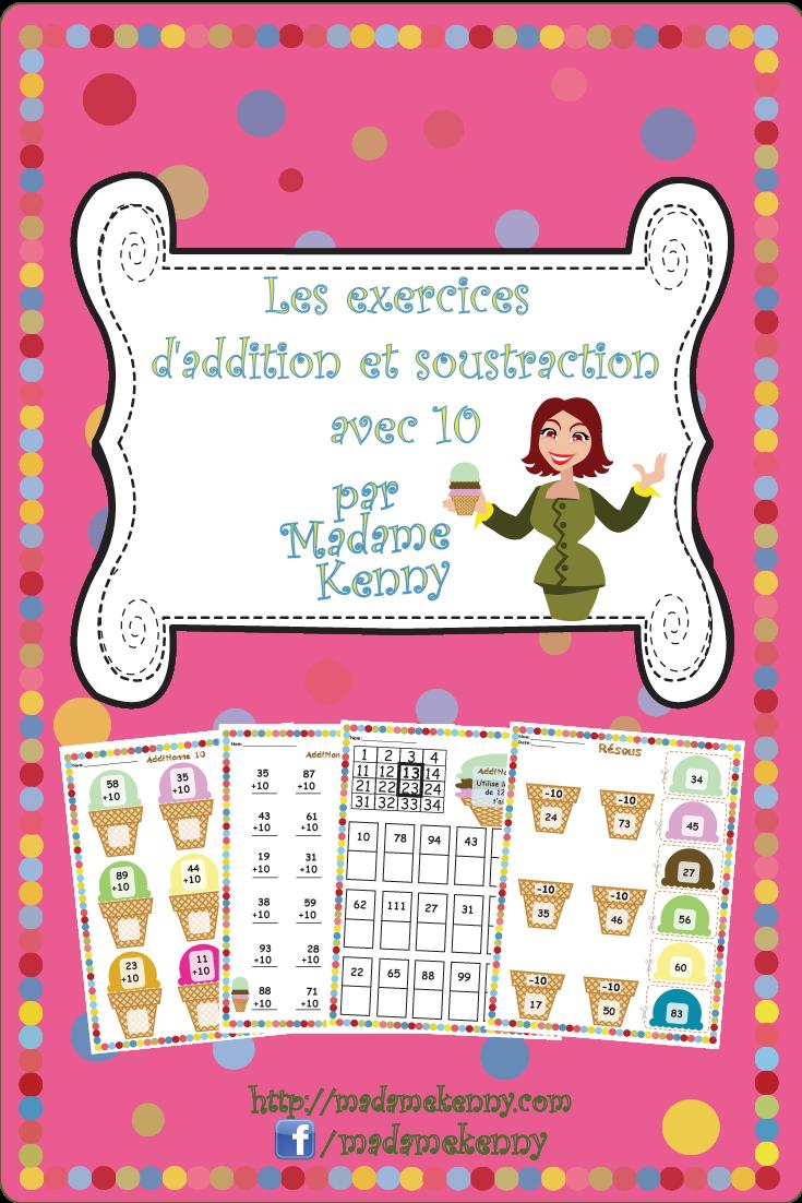 French Math Worksheets Les Exercises Daddition Et Soustraction Avec 10