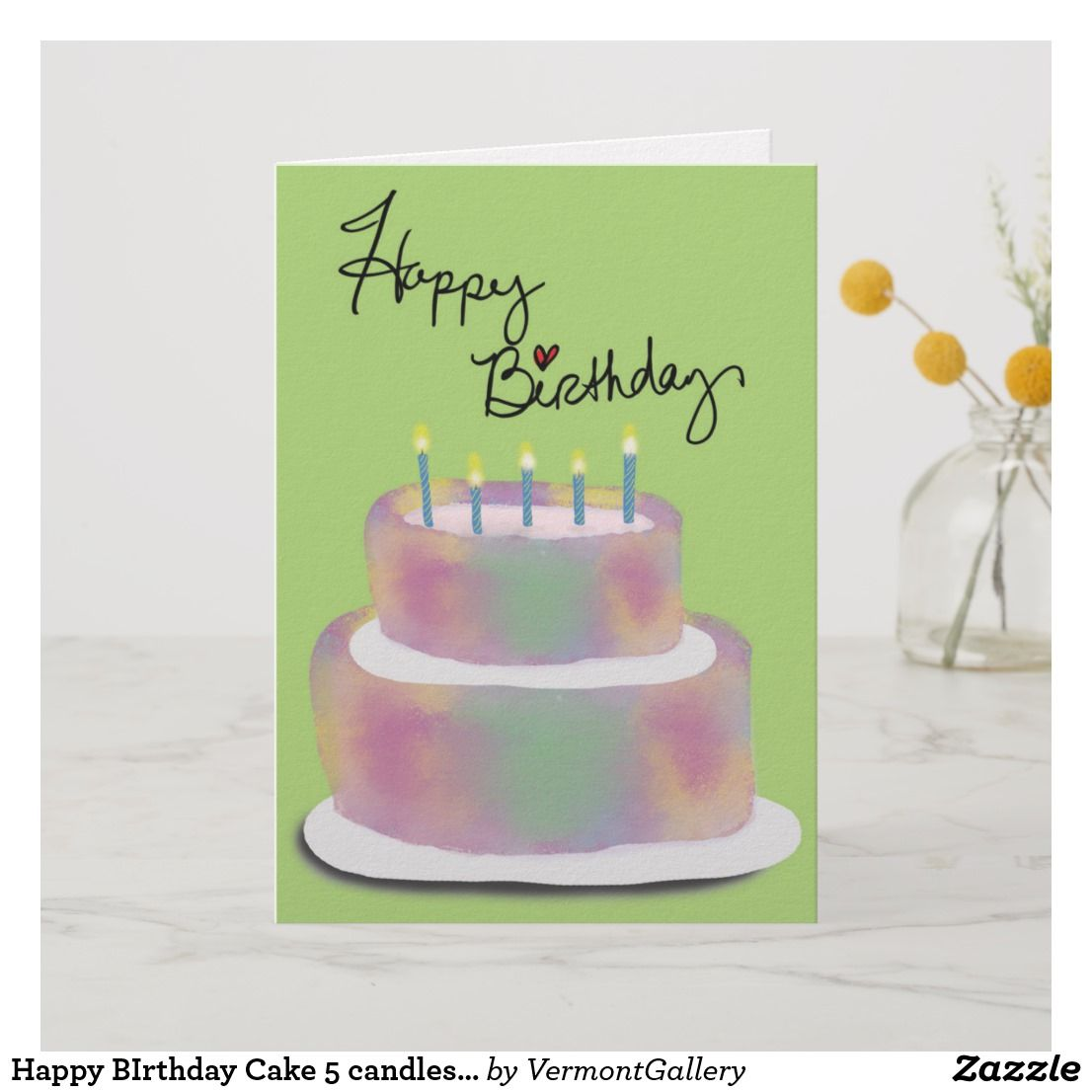 Happy birthday cake candles blank inside card birthday cards