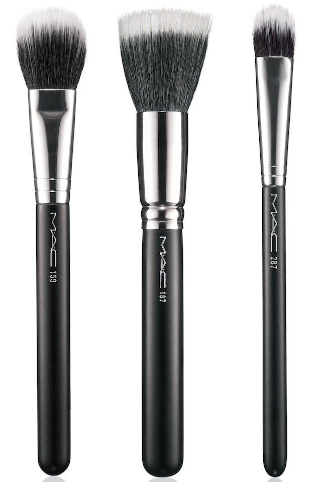 MAC 159 Duo Fibre Blush Brush (left, 35 USD / $42 CAD), 187 Duo Fibre Face Brush (center, $42 USD / $50.50 CAD) & 287 Duo Fibre Eye Shadow Brush (right, $32 USD / $38.50 CAD)
