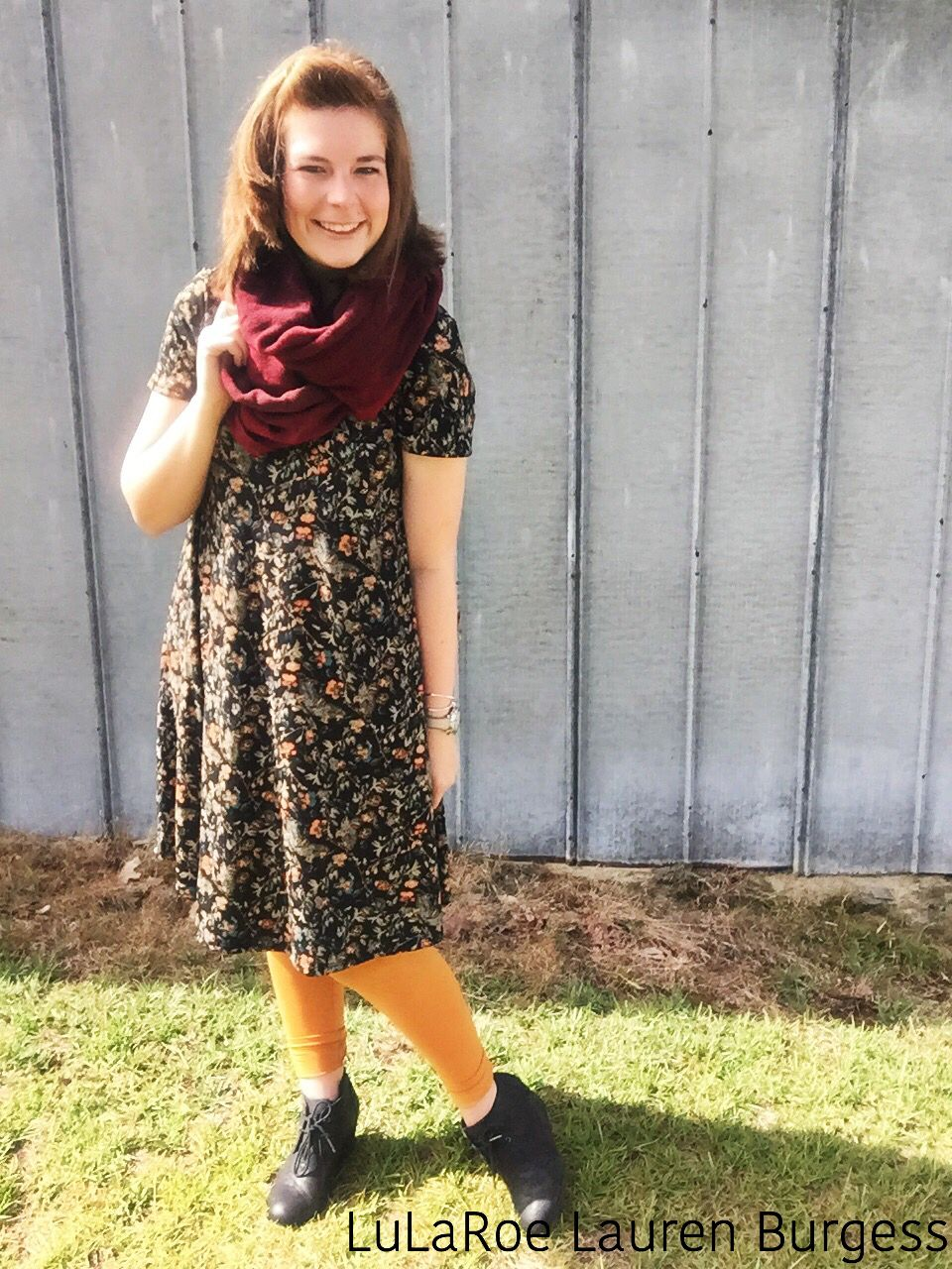 Bring on fall with LuLaRoe Carly dress and leggings!// Facebook: LuLaRoe.