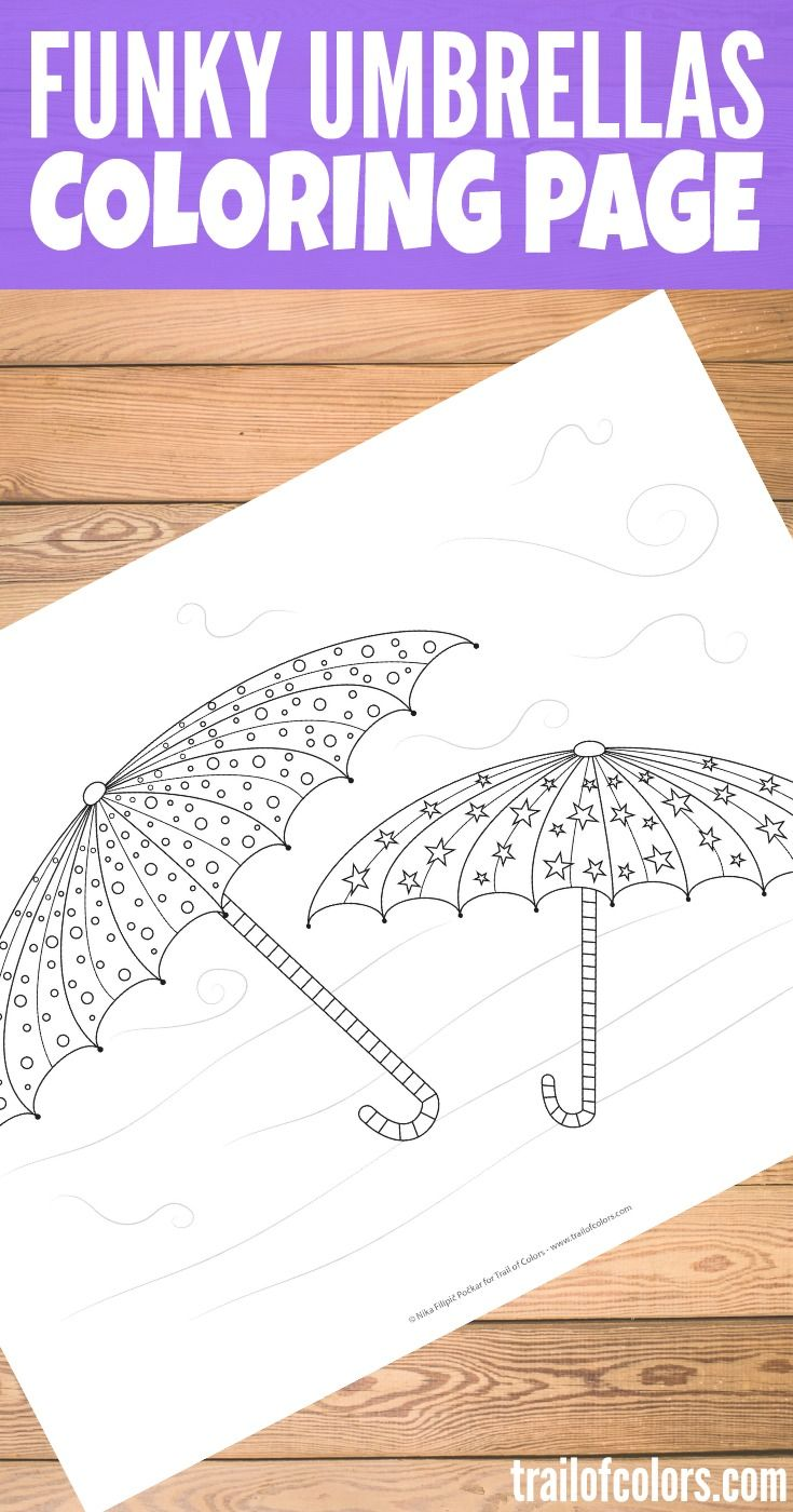 Funky Umbrellas Coloring Page for Kids | Pinterest | Colorear, Aula ...