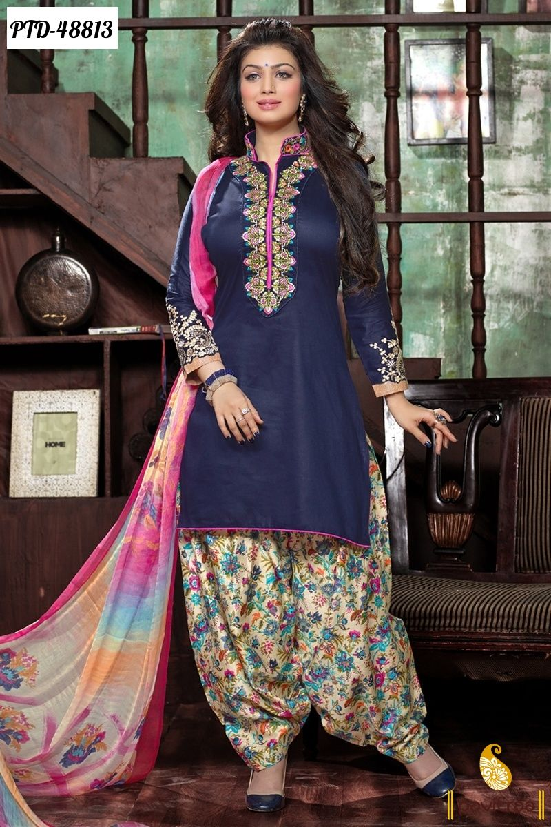 Ganga Cluren Satin Cotton with Pure Chiffon Dupatta Suit Buy ...