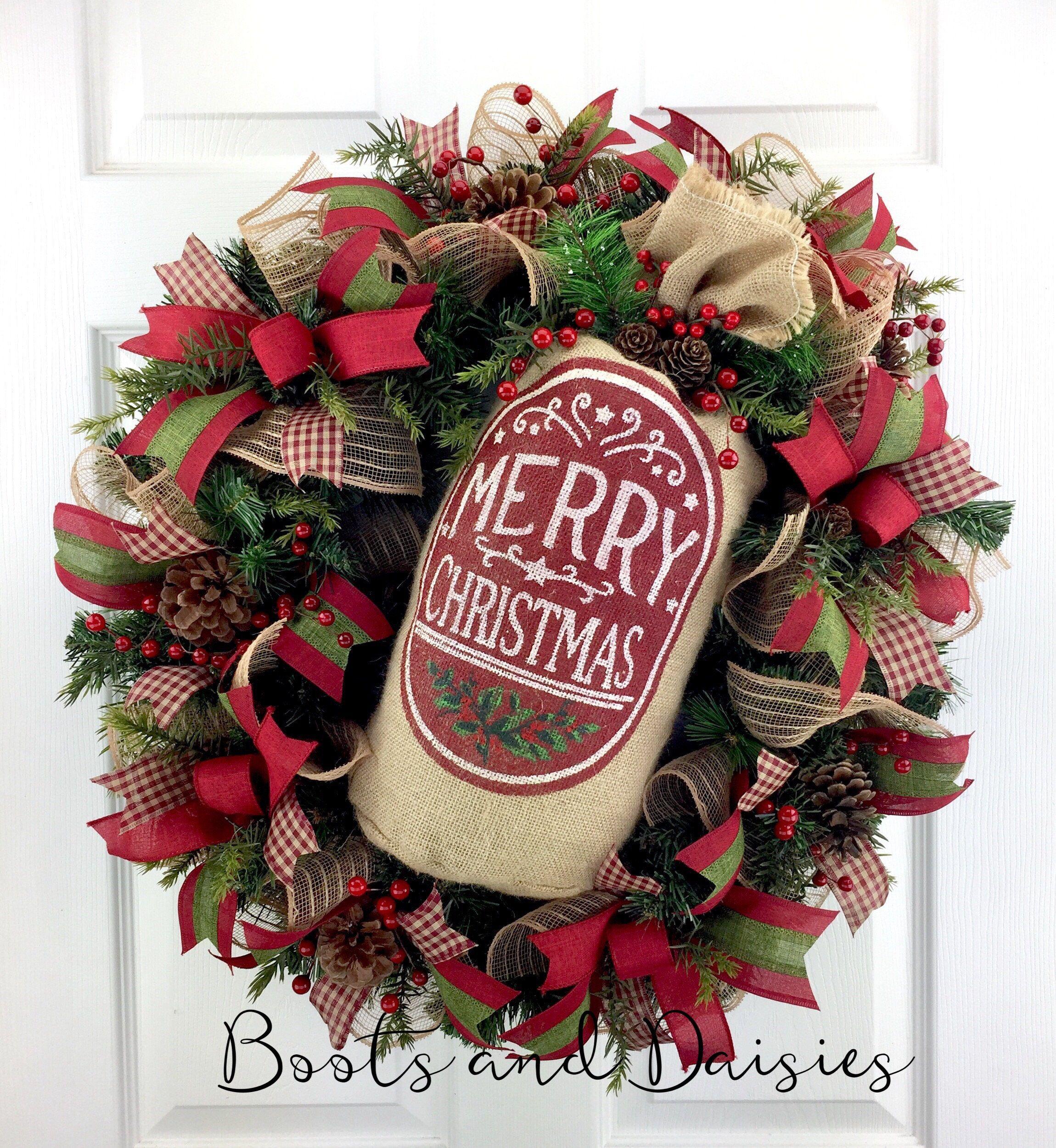 Christmas Wreaths For Front Door, Merry Christmas Wreath, Santa Bag