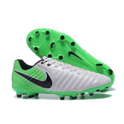 2017 Nike Tiempo Legend VII FG Botas De Futbol Blanco Verde Negro