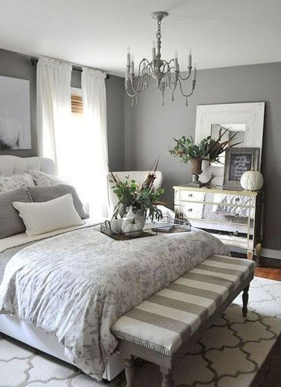 44 Adorable Modern Farmhouse Bedroom Decor Ideas With Images Small Apartment Bedrooms Grey Bedroom Decor Apartment Bedroom Decor