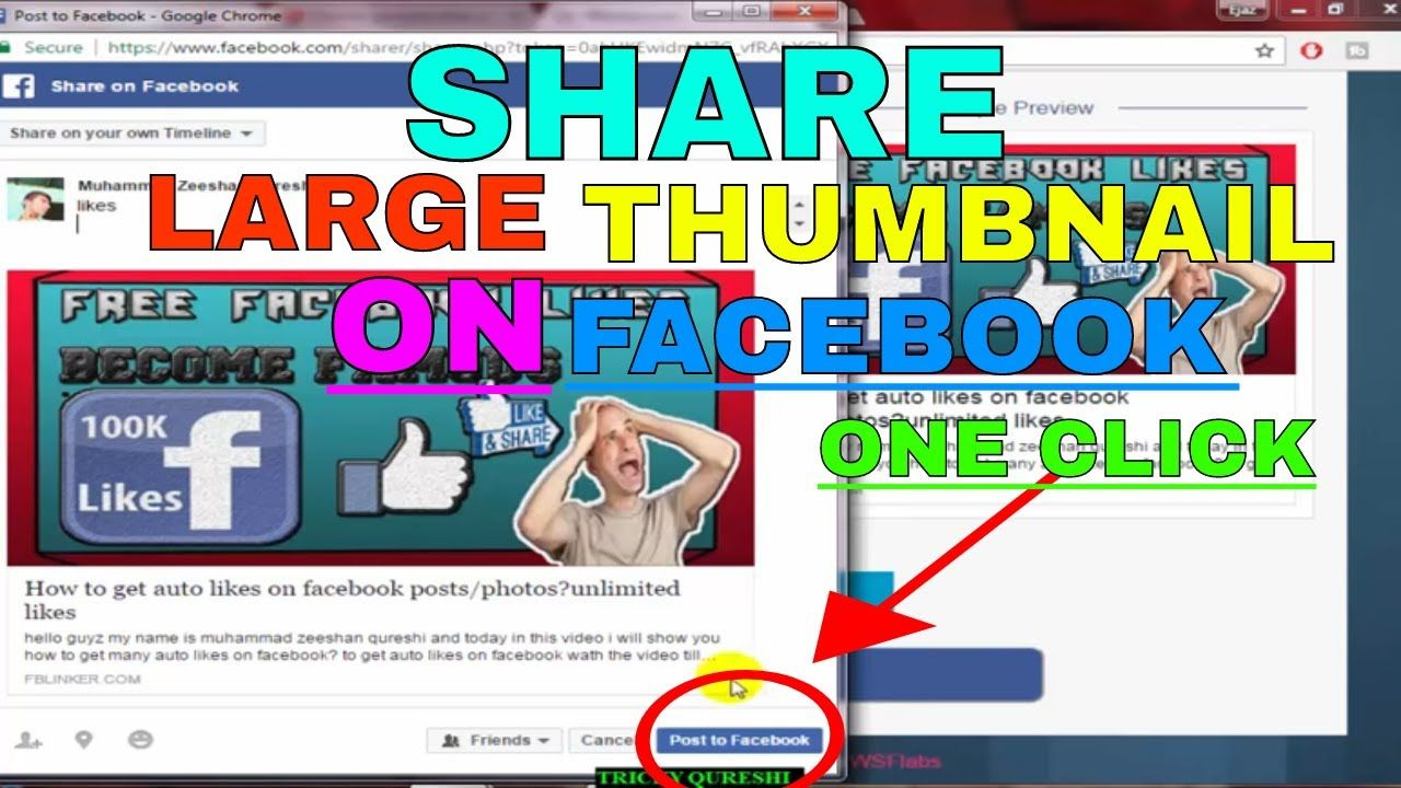 How to share youtube video on facebook with large image