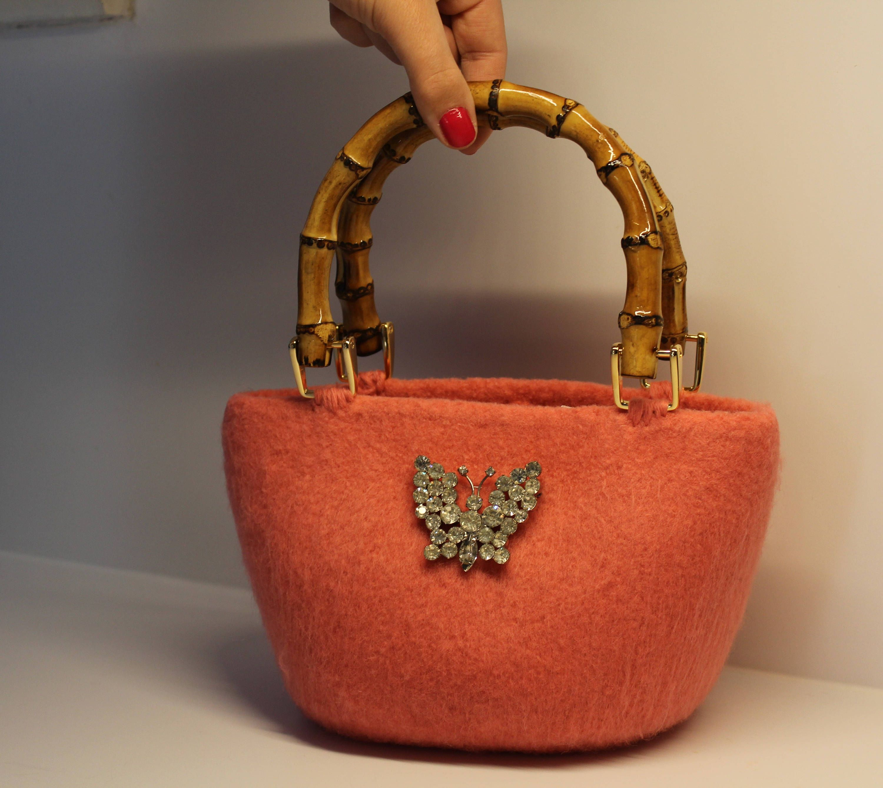 Handmade 100/% Wool Felt Purse Hand Crafted Womans Fashion Hobo Bag finished with a touch of COUTURE ! Handbag