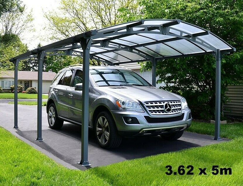 Heavy Duty Car Shed Outdoor Carport Garage Canopy Structure Steel Curved Roof 5m 283373312503 Car Shed Carport Garage Canopies