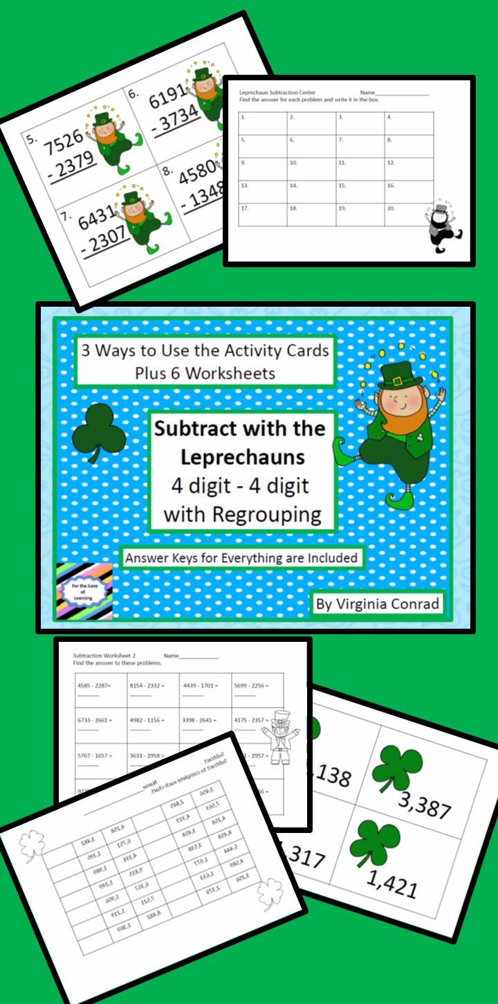 Subtracting Two 4 Digit Numbers with Regrouping--St. Patrick\'s Day ...