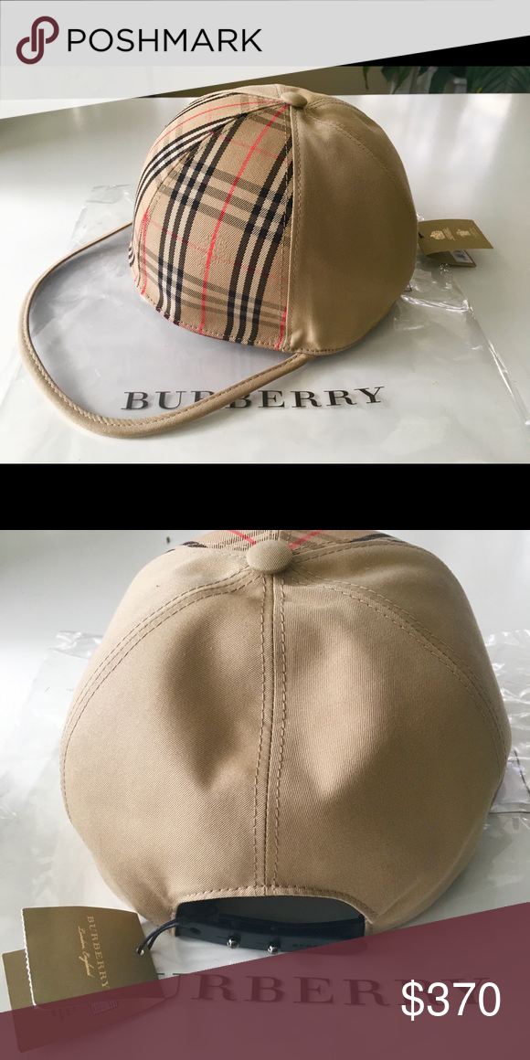 857f5e697f7 Burberry Clear Brim Baseball Cap New Signature Burberry baseball cap with  the tag attached with a transparent brim.   Adjustable leather snap-back  closure ...
