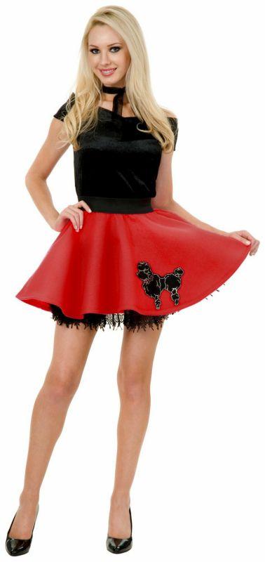 Mini Poodle Skirt Black Red Adult Costume
