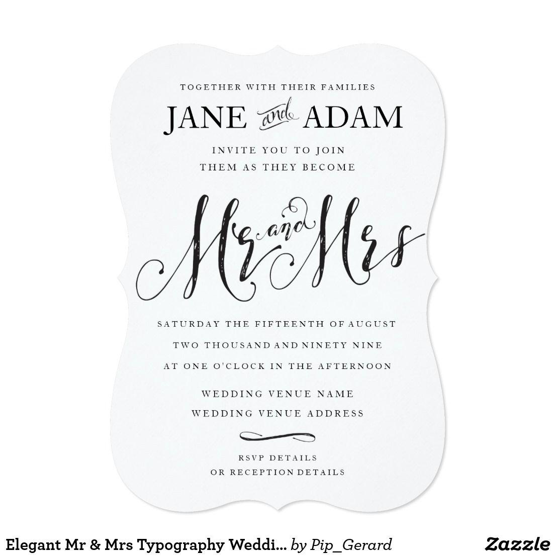 Elegant Mr & Mrs Typography Wedding Invitation | Wedding ...