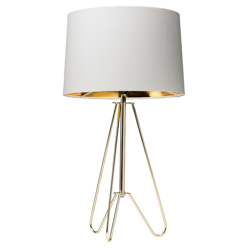 Ziggy 49cm Table Lamp GoldCream in 2020   Tripod table