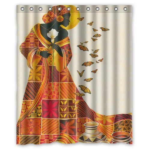 Custom Waterproof Bathroom African Woman Shower Curtain Polyester Fabric Size 60 X 72 Click Image To Review More Details