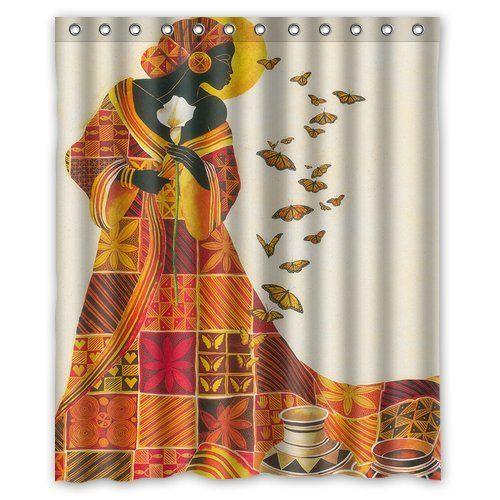 Custom Waterproof Bathroom African Woman Shower Curtain Polyester