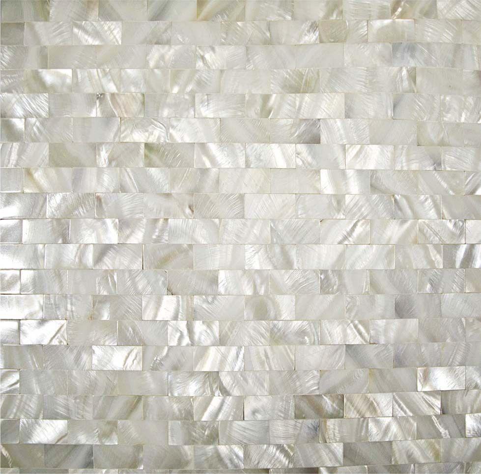 Home mosaics tiles white subway brick mother of pearl tile kitchen ...