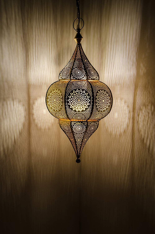 Orientalische Lampe Pendelleuchte Gold Malha 9cm E9