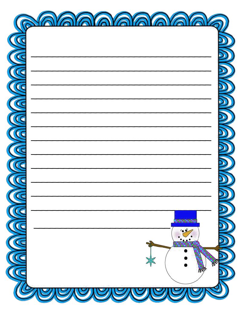 Literacy Minute Snowman Writing Paper Freebie Winter Writing Paper Holiday Writing Snowman Writing