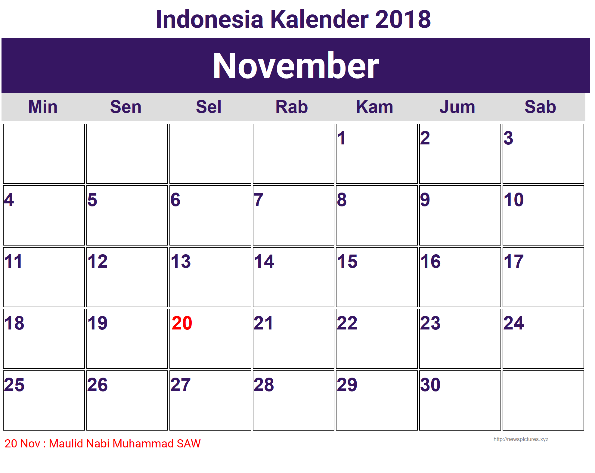 image for november indonesia kalender 2018 kalender. Black Bedroom Furniture Sets. Home Design Ideas