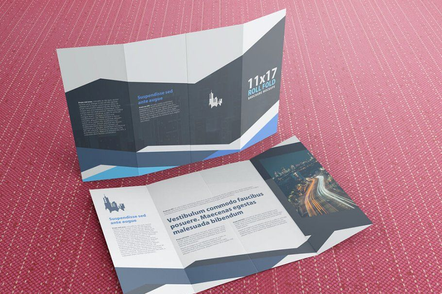 11x17 Roll Fold Brochure Mockup Brochure, Brochure print