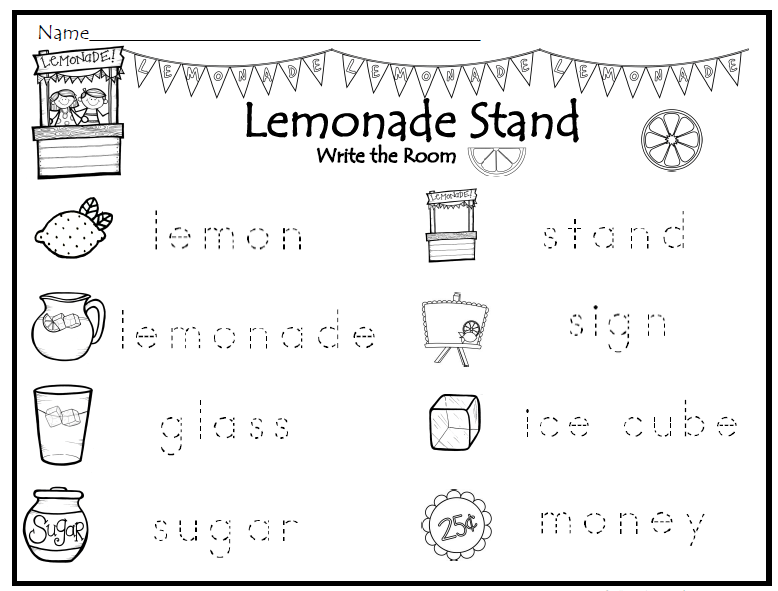 Trace The Word Lemonade Theme Write The Room Kindergarten Writing Writing Lemonade Stand