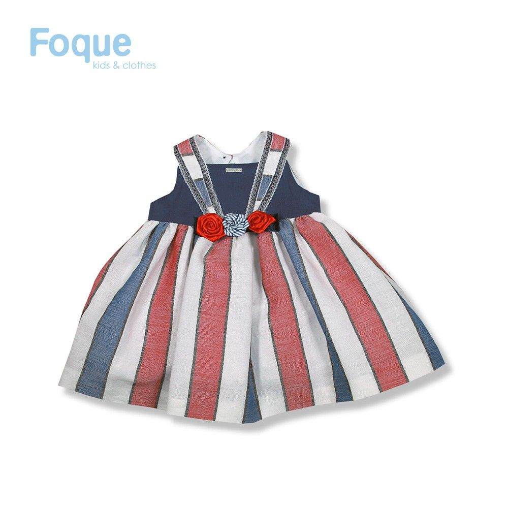 a7ff79e33 Vestido rayas para niña de Foque Moda Infantil