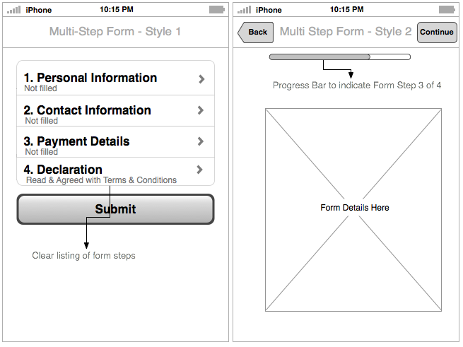 Multi-step form patterns. #usability #mobileapp | d e s i g n ...