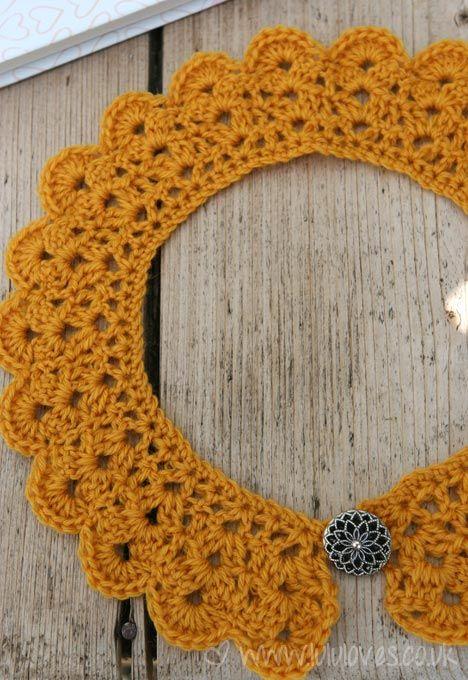 7218561cce04c Beautiful detachable crochet peter pan collar using Lulu loves free  tutorial! I m making mine in powder blue Debbie Bliss silk yarn  )