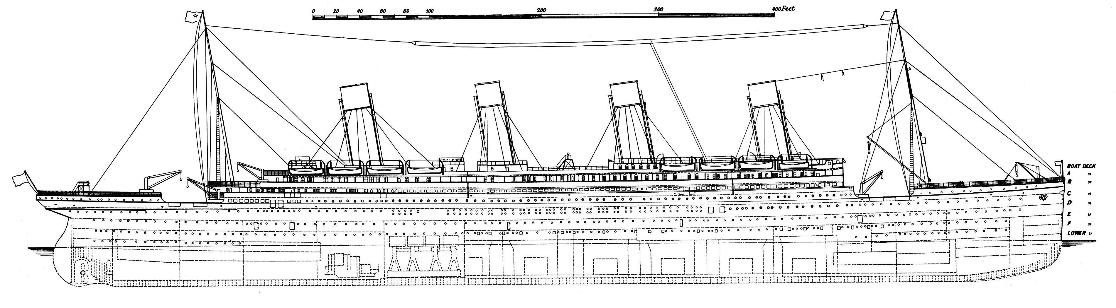 titanic cross section [ 3803 x 1052 Pixel ]