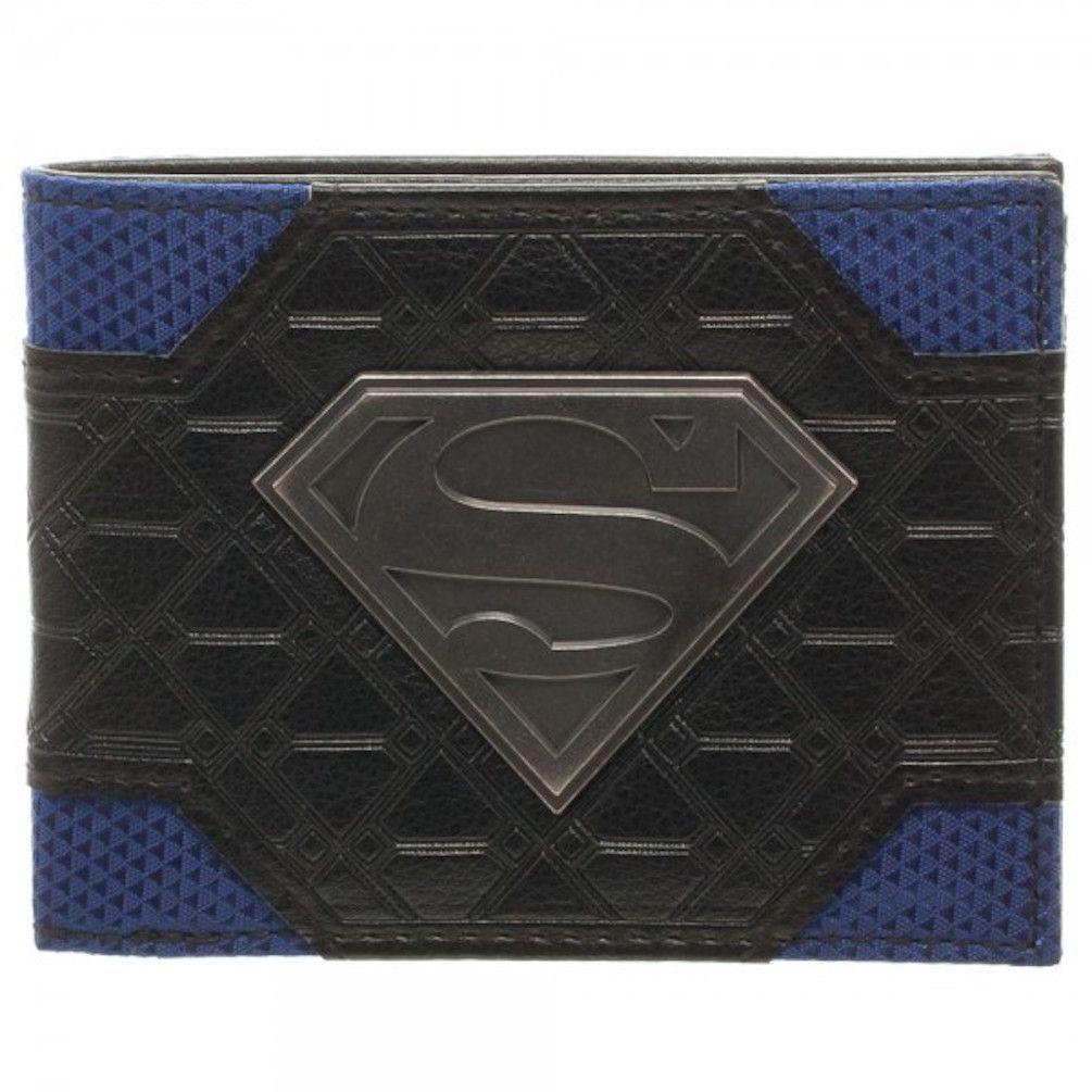 Superman Metal Shield Mix Material Bi-Fold Wallet New In Box DC Comics