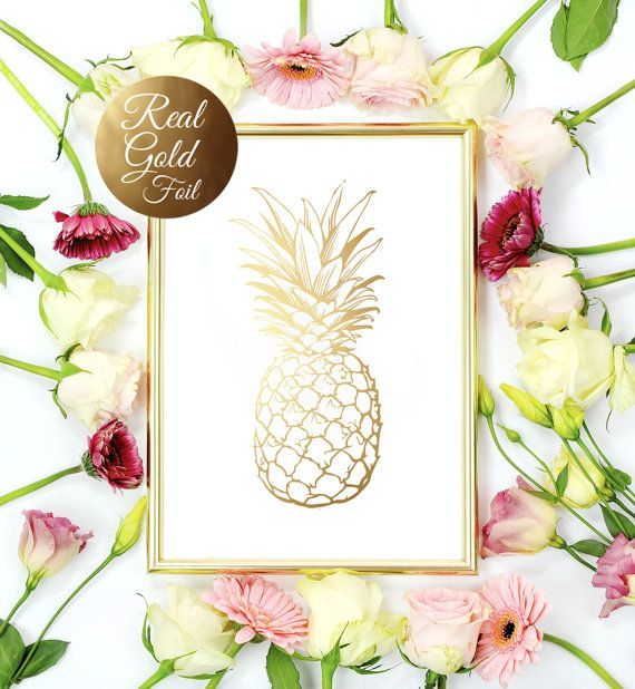 Gold Pineapple Print, Gold Pineapple Wall Art, Minimalist