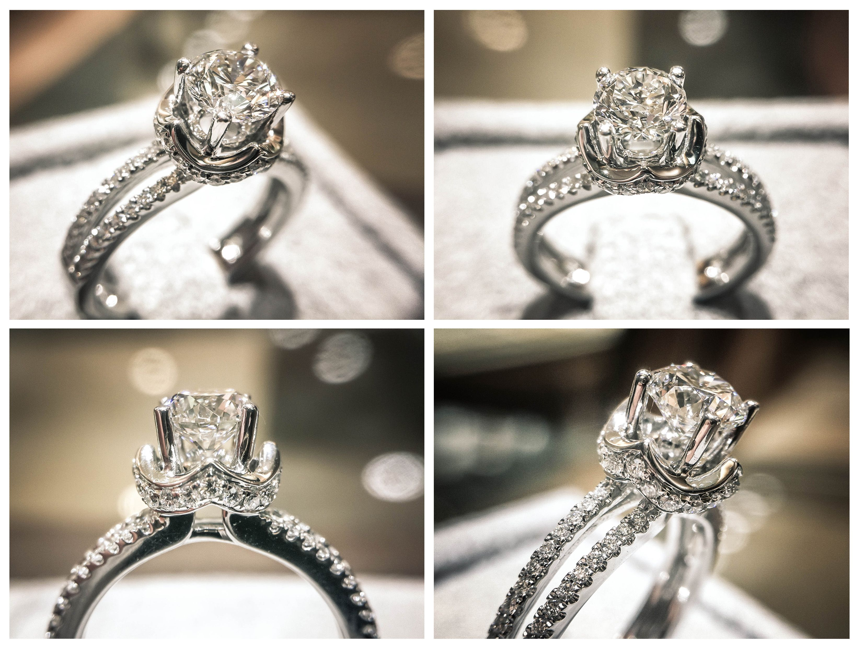 Crown pavé engagement ring set with gia certified ct diamond
