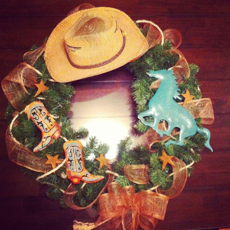 Cowboy Christmas Decor: Western Style Christmas Wreath.