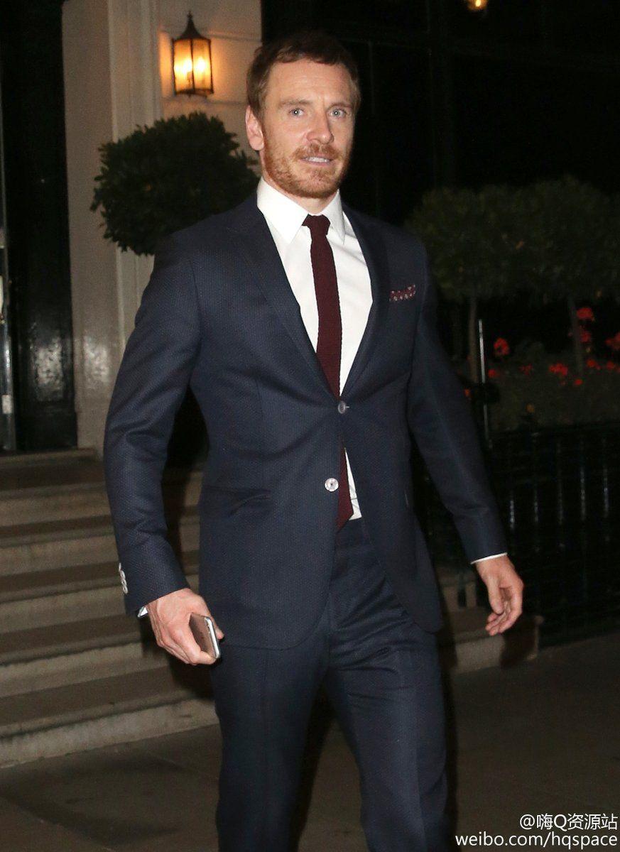 Michael Fassbender leaving Morton's in London after TLBO première.