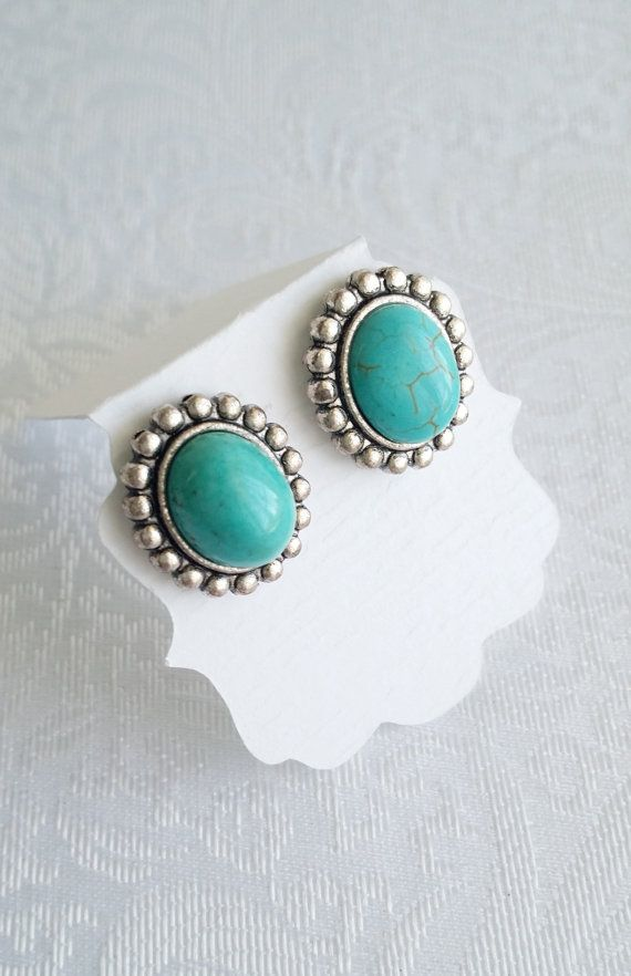 Turquoise Earrings Stud Oval Post Antique Silver Victorian Style Vintage Gift For Her