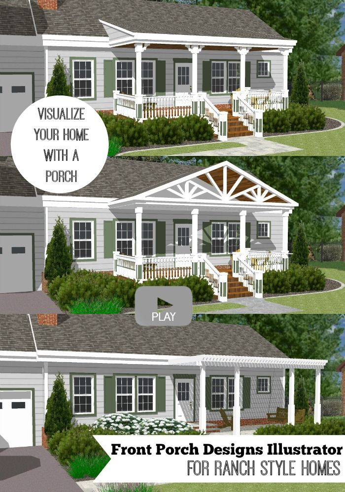 ranch home with hip roof and covered entrance design ideas home remodel designer Watch our front porch designs illustrator add different types of porches to  a ranch home and visualize your home with a porch!
