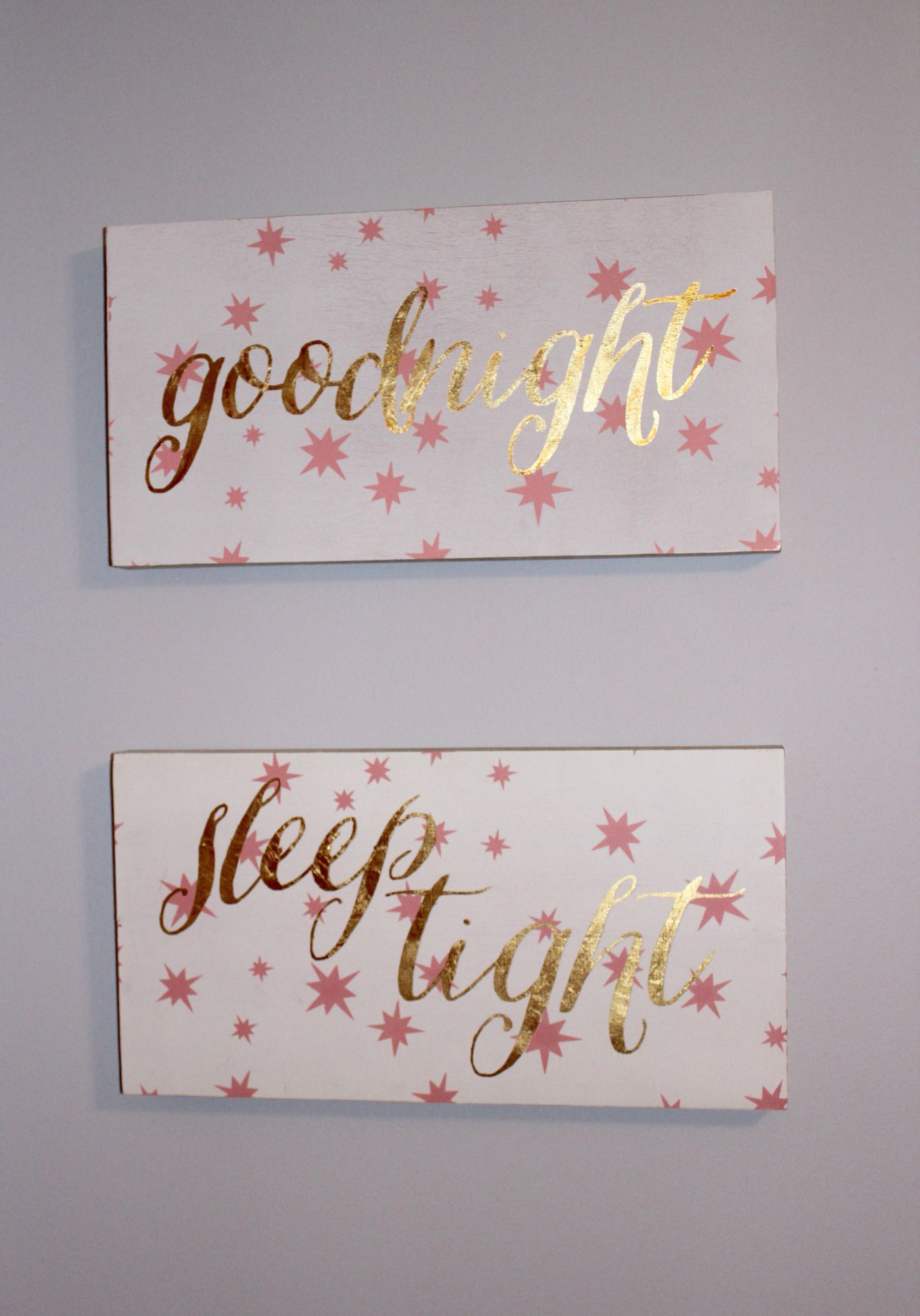 Goodnight and sleep tight wooden canvas from Hobby Lobby for Nursery