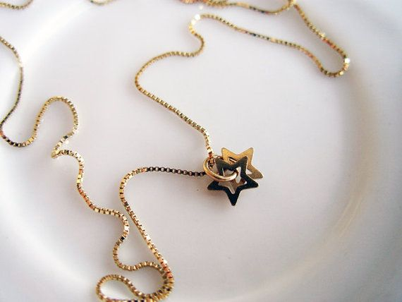 Gold Star All day 14K Gold Necklace with by NoaSharonDesigns, $260.00