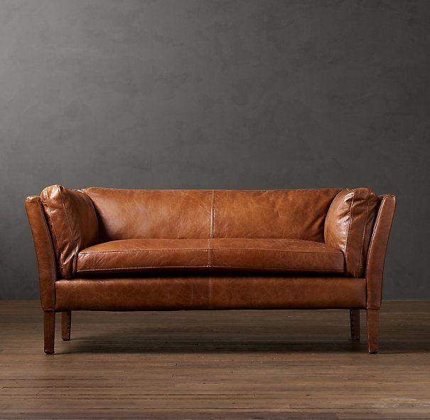 Restoration Hardware - Black Leather Sorensen Sofa   Sofá de couro pequeno, Sofá de couro marrom, Sofá de madeira
