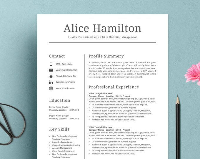 Modern Resume Template the Amelia Resume Design Pinterest - resume goals