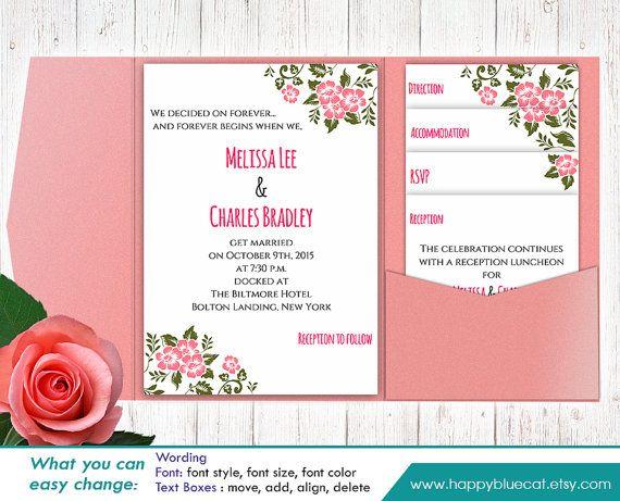 DiY Printable Pocket Wedding Invitation Template by HappyBlueCat ...