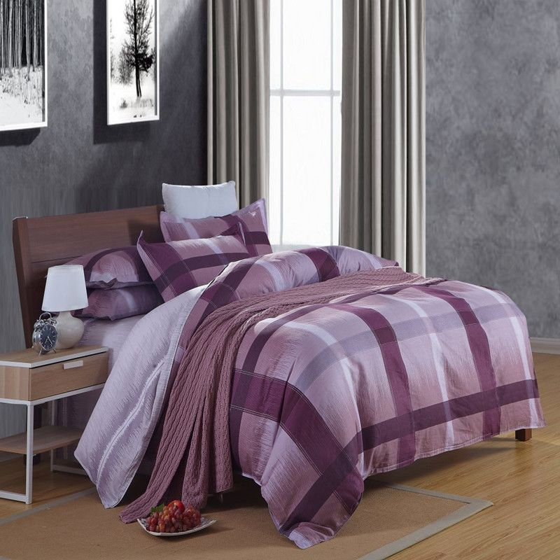 Bedding Sets For Men Quality Set Double Directly From China Spa Suppliers Modern Plaid Purple Blue Comforter Duvet Cover