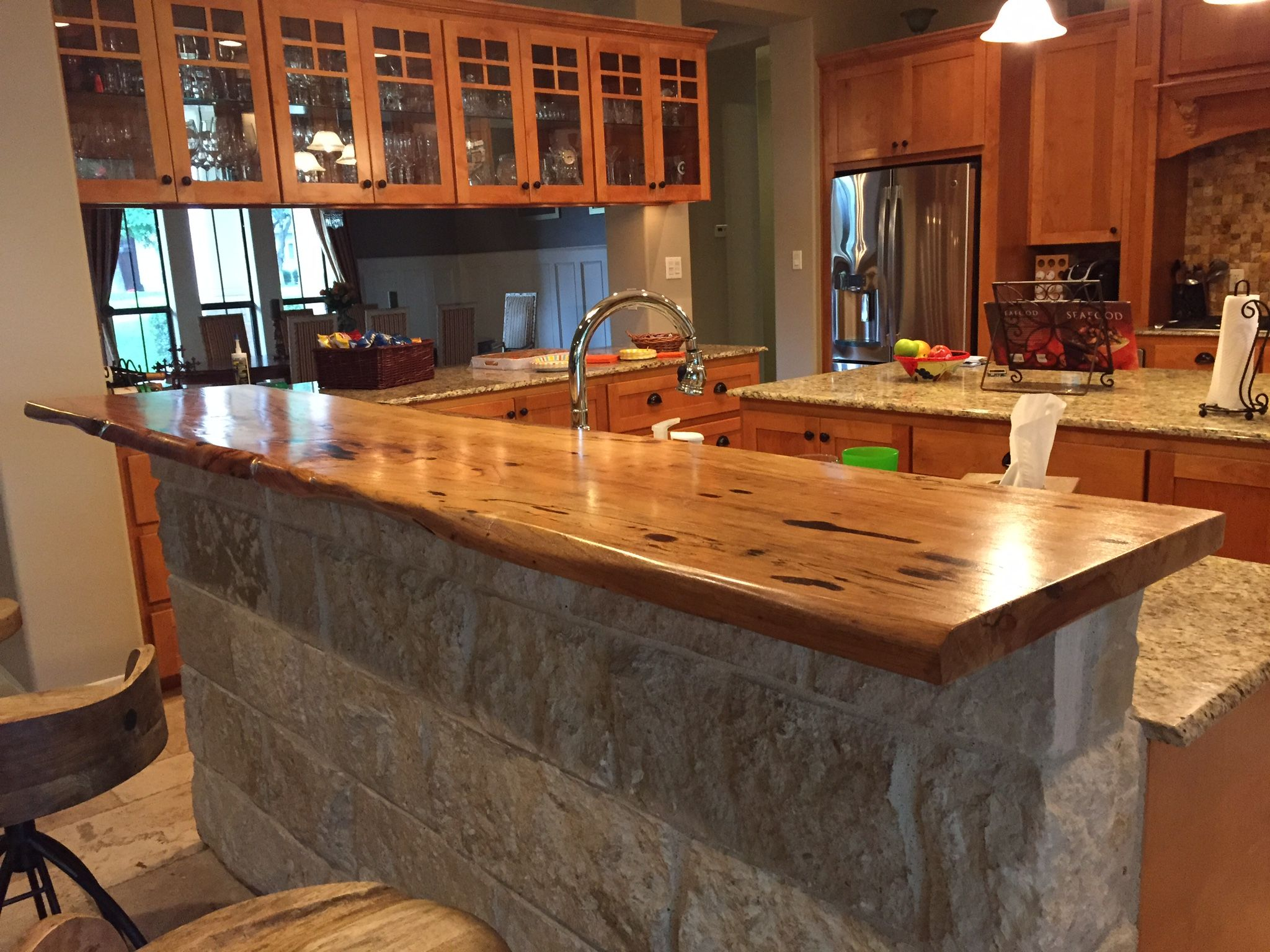 Kitchen bar top pecan with live edge bar tops for Bar in kitchen ideas