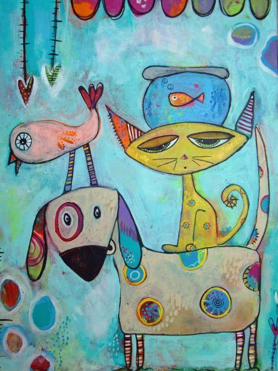 Dieses Gemälde wurde für die Skagit County Humane Society geschaffen. Es wurde von der Liebe aller Tiere inspiriert! Hunde, Katzen, Fische und sogar Vögel! Wer liebt nicht einen niedlichen Vogel auf dem Kopf eines Welpen? Dieser skurrile Druck wird Sie sicherlich glücklich machen. Die Pastellfarben