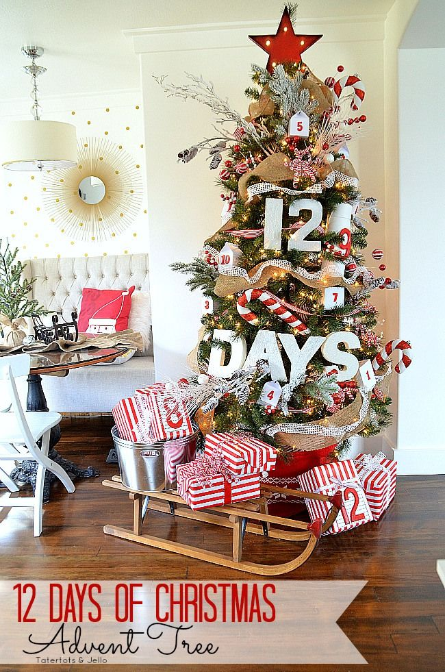 12 Days Of Christmas Advent Tree Creative Christmas Trees Amazing Christmas Trees Best Christmas Tree Decorations