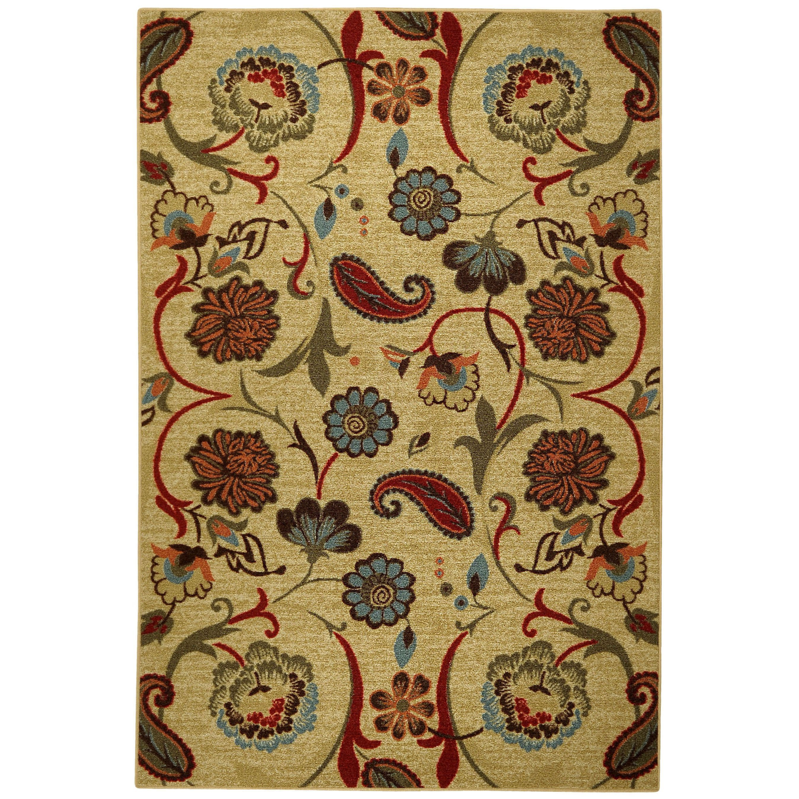 Rubber Back Beige Multicolored Floral Non Skid Area Rug 5 X 6 6
