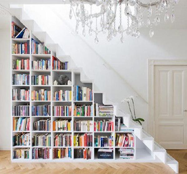 Storing Books In Small Spaces Part - 39: Decor:Under The Stairs Bookcase Mini Library Big Chandeliers Unique Books  Decoration Amazing Functionality Of · Book DecorationsSmall Space ...