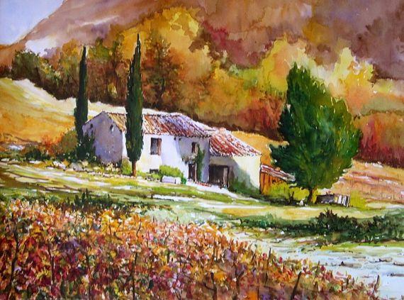 Tableau Peinture Provence Vignoble Ifs Automne Paysages Aquarelle