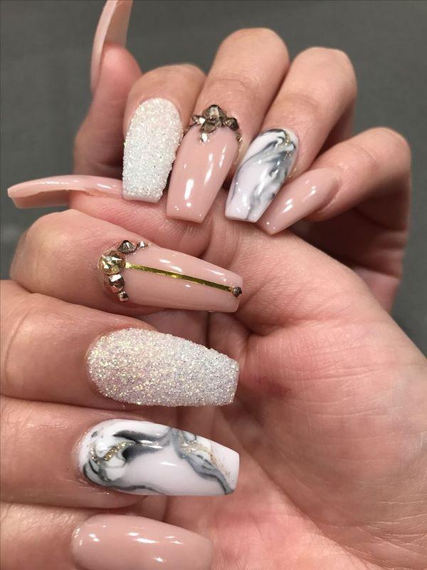 ballerina shape marble nail art ideas pink marble nails #nails ...